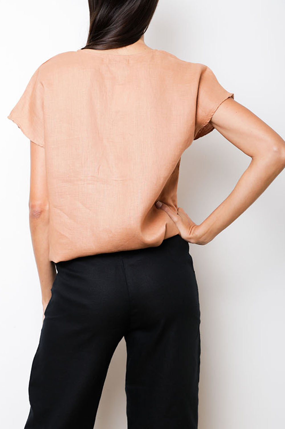 Gift Top in Ocre Linen