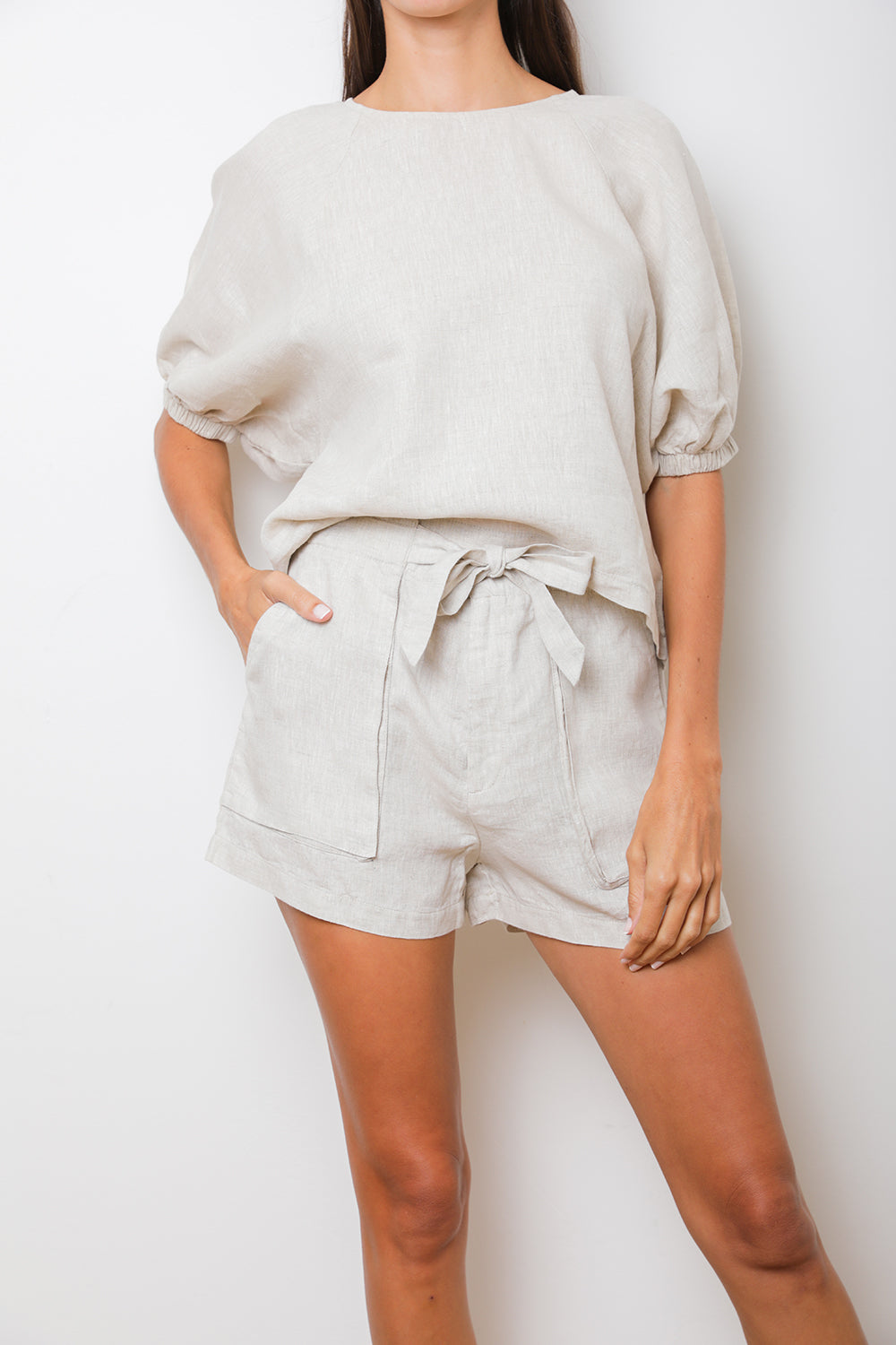 Jade Paperbag Shorts in Natural Linen