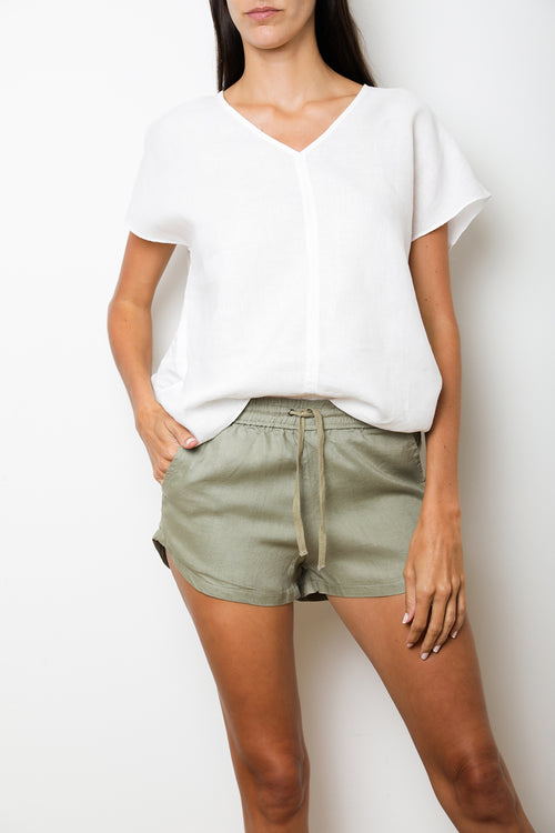 Elastic Short in Khaki Linen