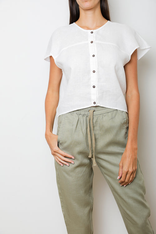 Bell Shirt in White Linen