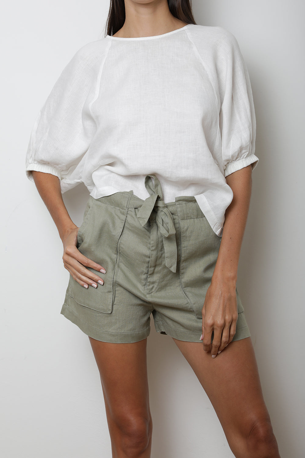 Jade Paperbag Shorts in Khaki Green Linen