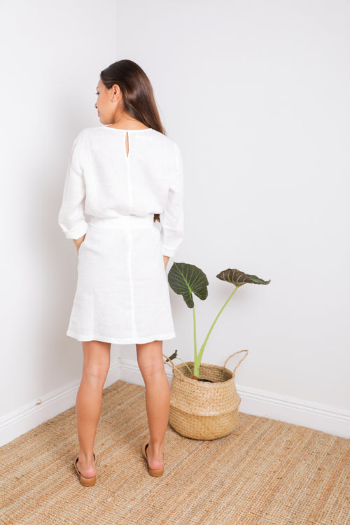 Quartz Dress in White Linen