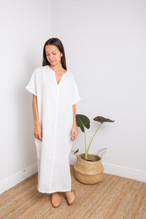 Tulum Caftan in White Linen