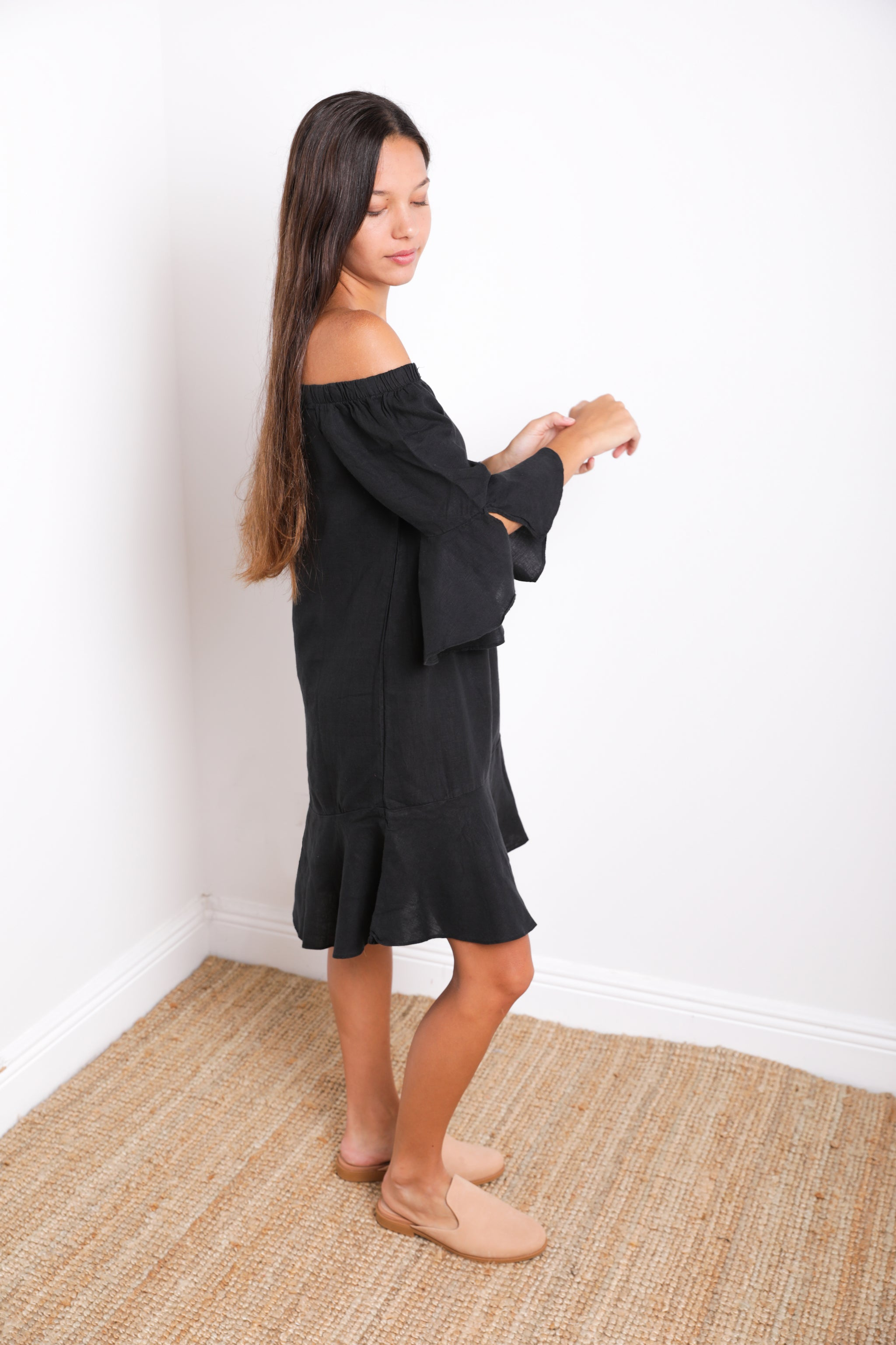 Alma Off-Shoulder Ruffle Dress in Black Linen