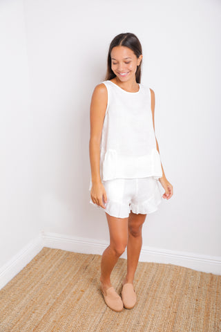Ray Sleeveless Top in White Linen