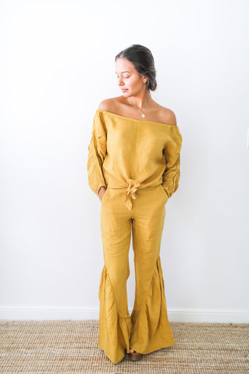 Naomi Off-Shoulder Tie-Front Top in Mustard Linen