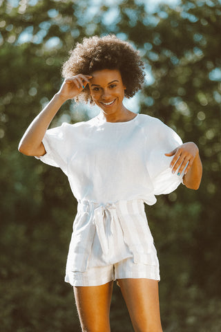 Palma Ruffle Short in White Linen