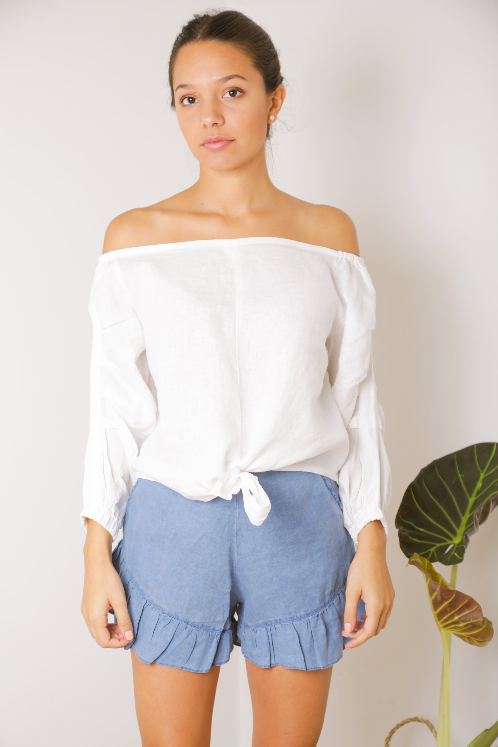 White Off-Shoulder Top in 100% Linen Tie-Front