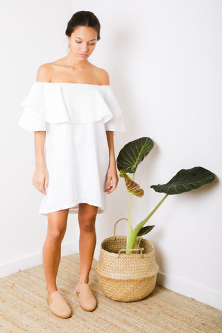 Palma Ruffle Short in Denim Linen