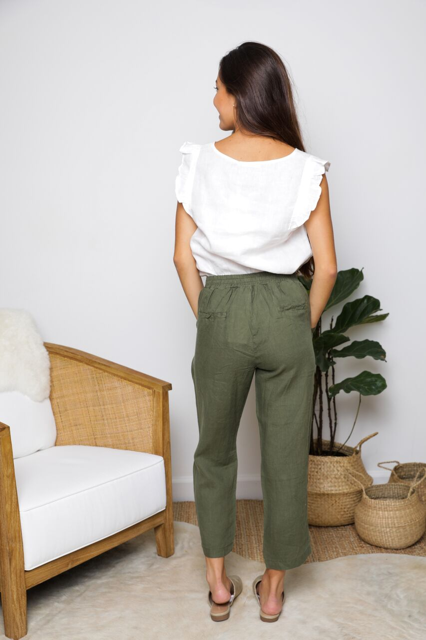 Jogger Pant in Olive Linen