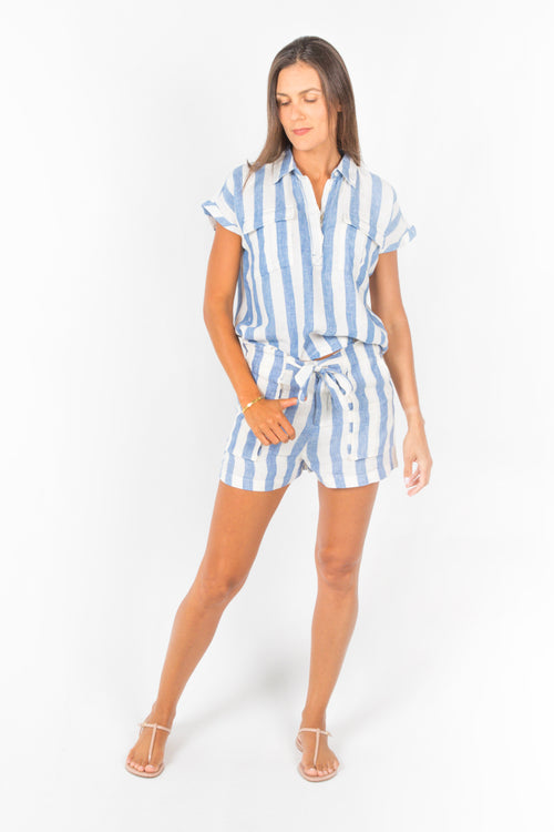 Jade Paperbag Shorts in Blue and White Stripes