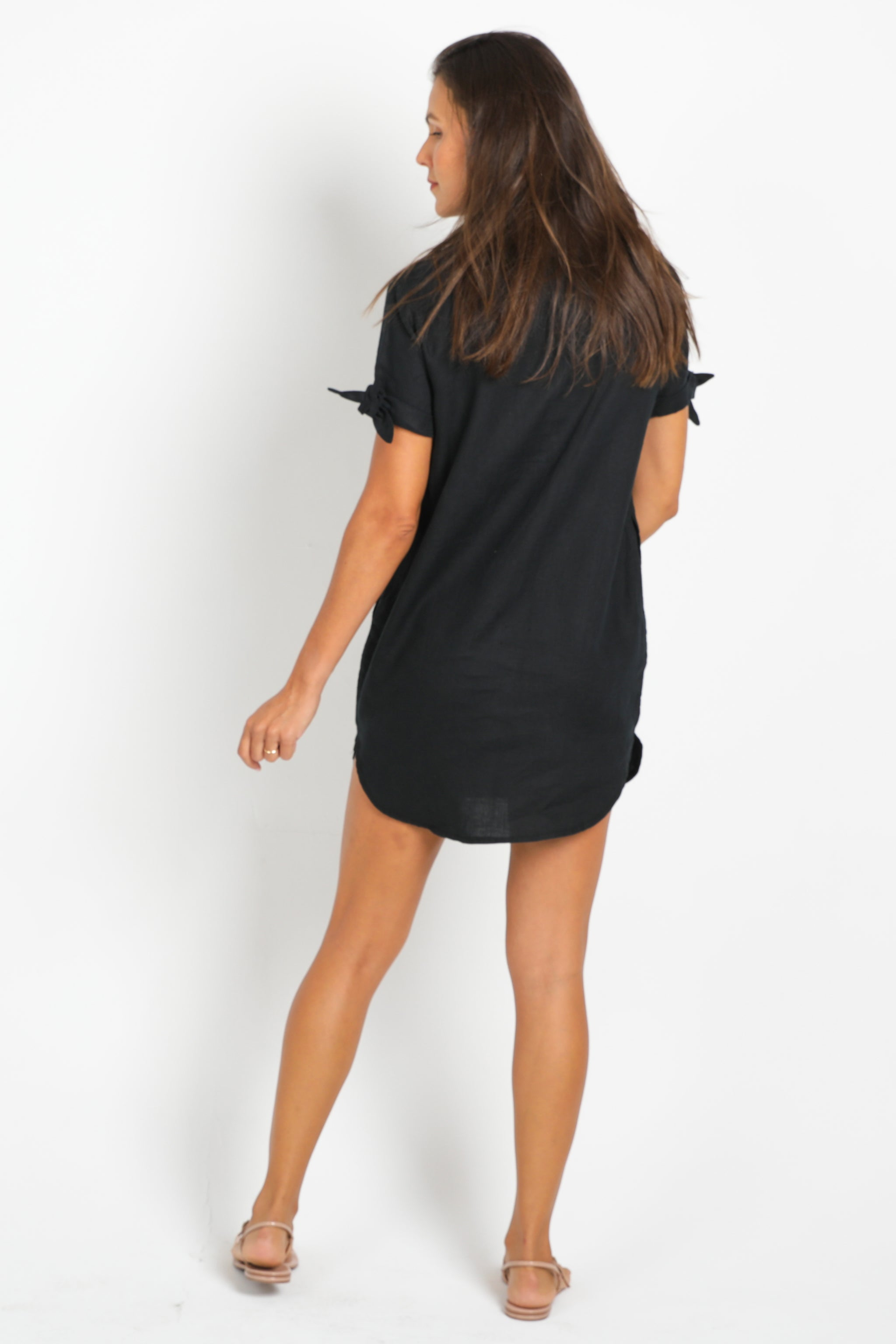 Black Shirt-Dress in 100% Linen with Collar and Short Sleeves