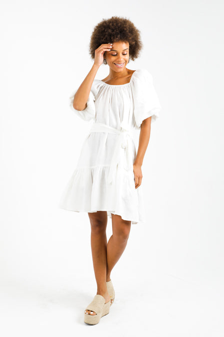 Exuma Dress in 100% Linen in white