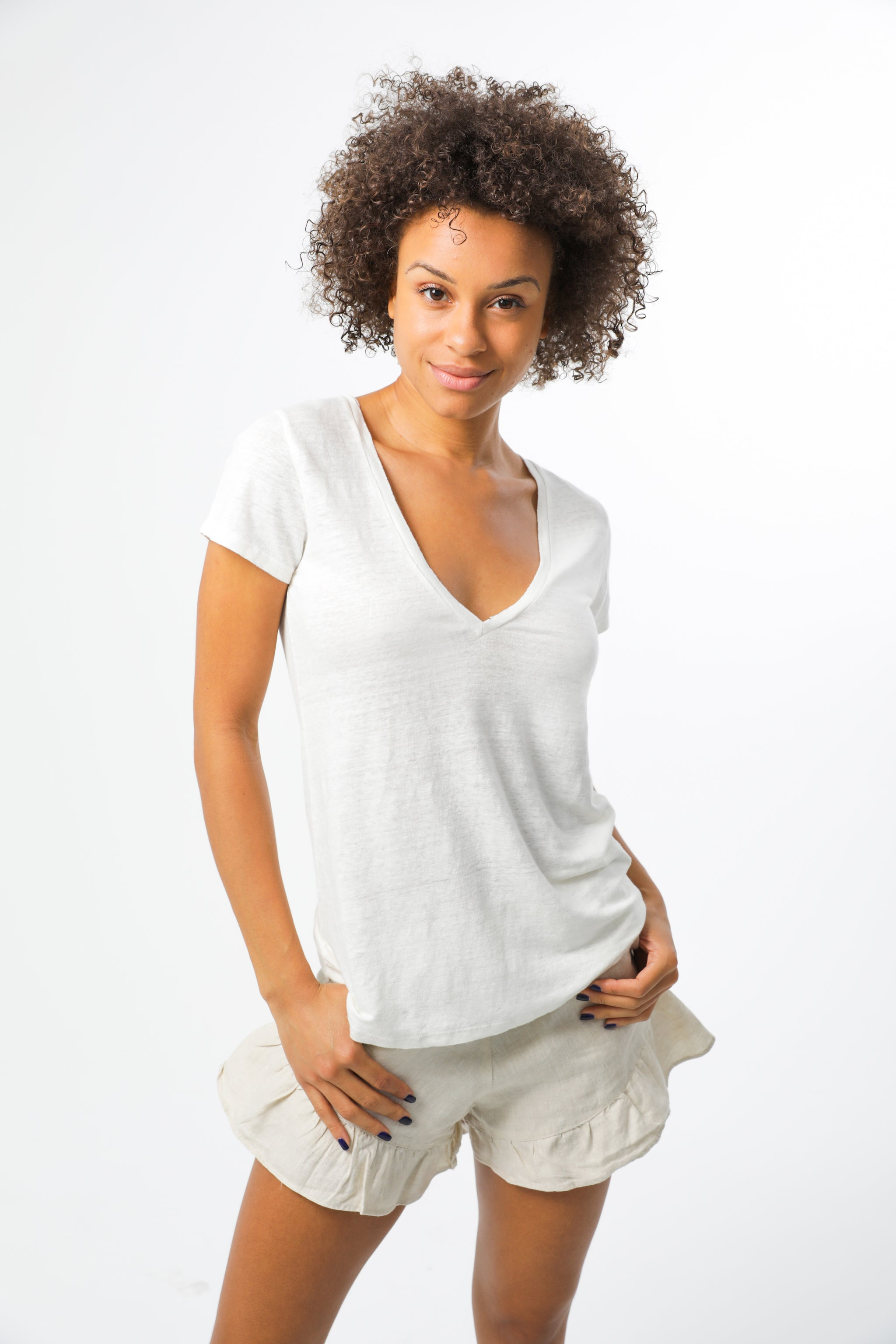 Basic Linen Jersey T-Shirt - White