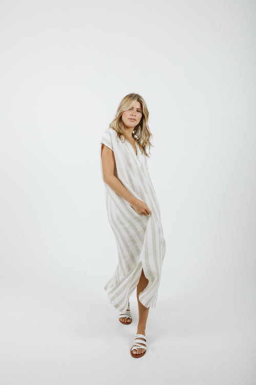 Grecia Caftan - Beige & White Stripes