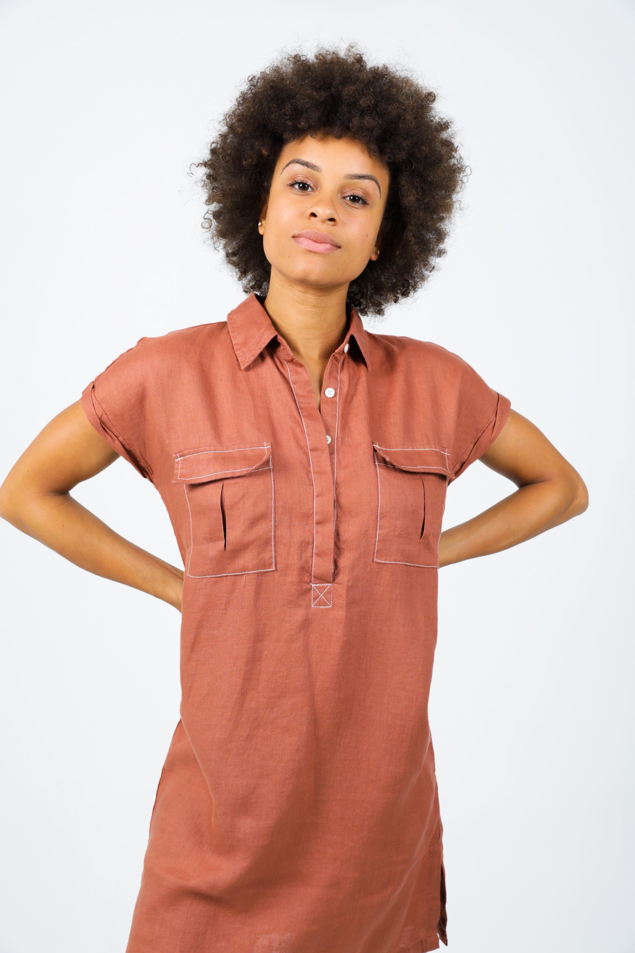 Uma Short Dress - Terracotta