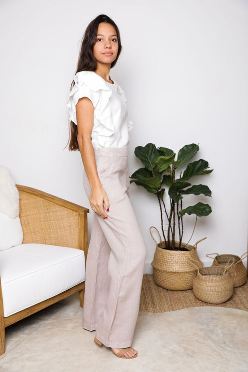 Helena Classic Pant in Natural Linen