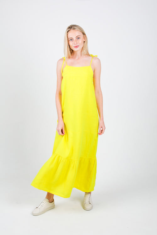 Maria Tiered Long Dress in Lime Linen