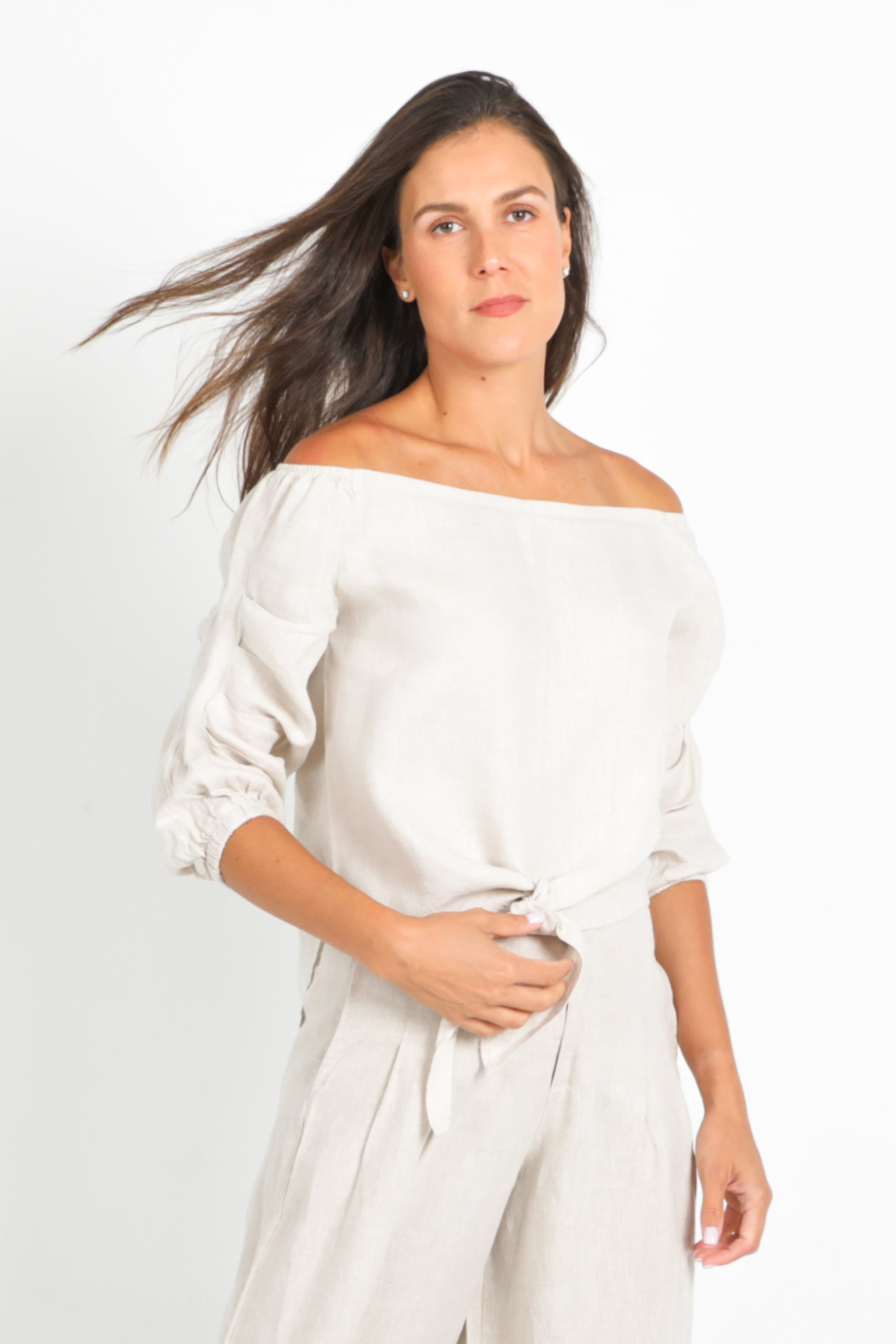 Natural Off-Shoulder Top in 100% Linen Tie-Front