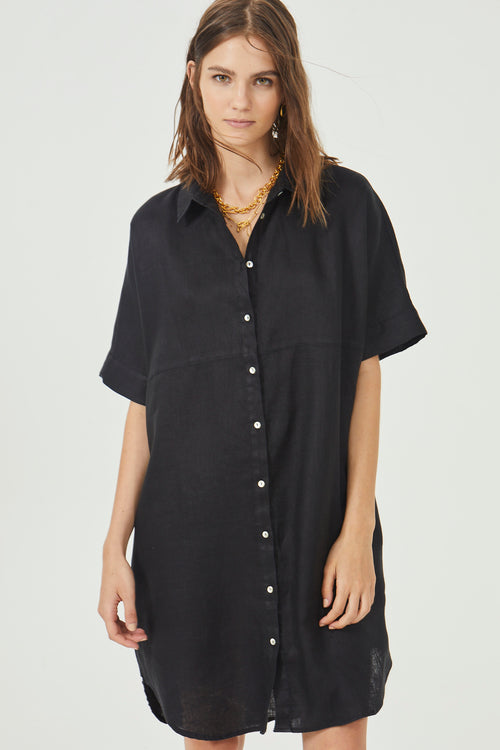 Alba Shirt Dress - Black