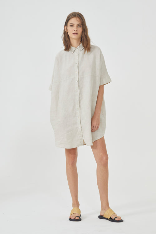 Alba Shirt Dress - Natural