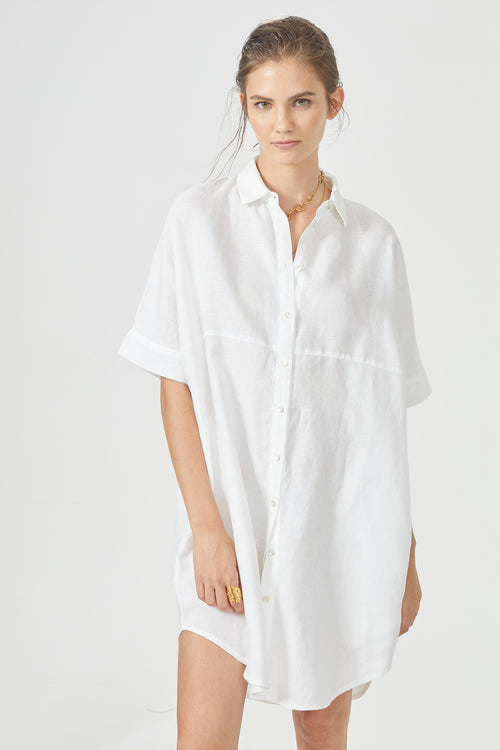 Alba Shirt Dress - White