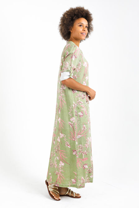 St Tropez Long Caftan Maxi Shirt-Dress in 100% Linen with Osaka Print