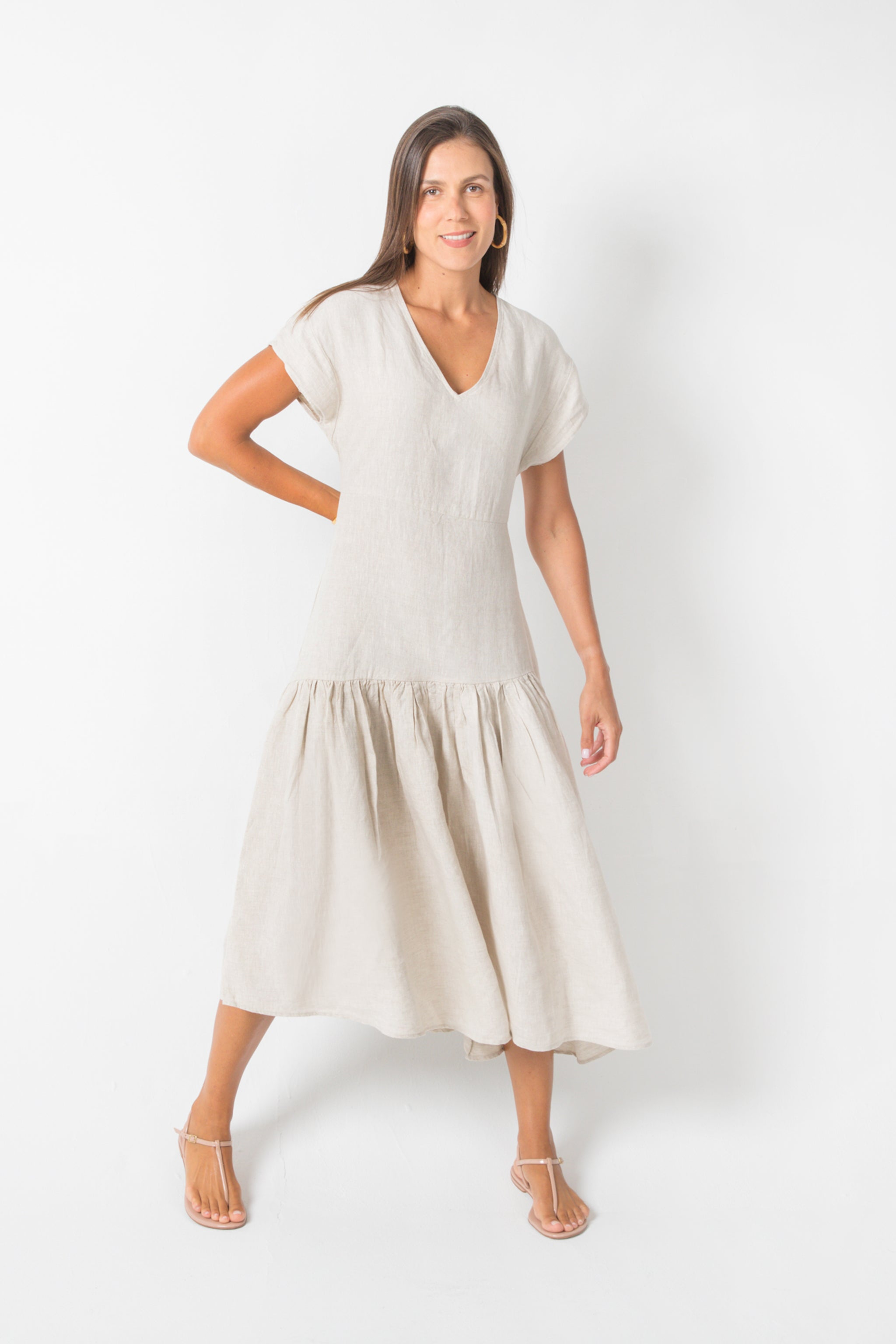Natural Maxi Long Dress in 100% Linen V-Neck A-Line Silhouette