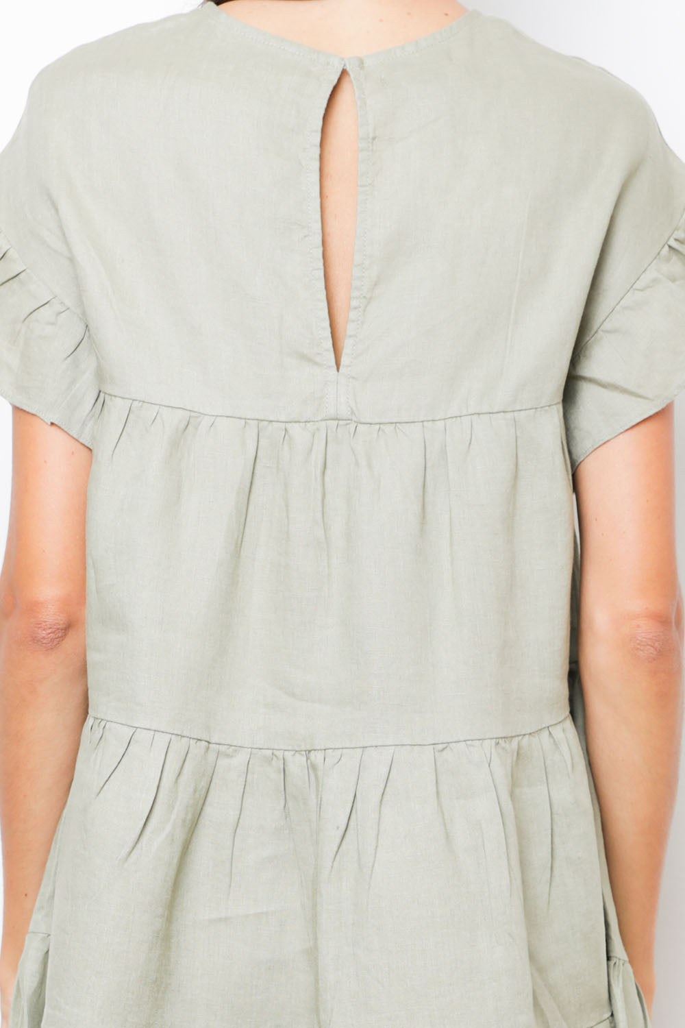 Sun Dress in Khaki Linen back detail