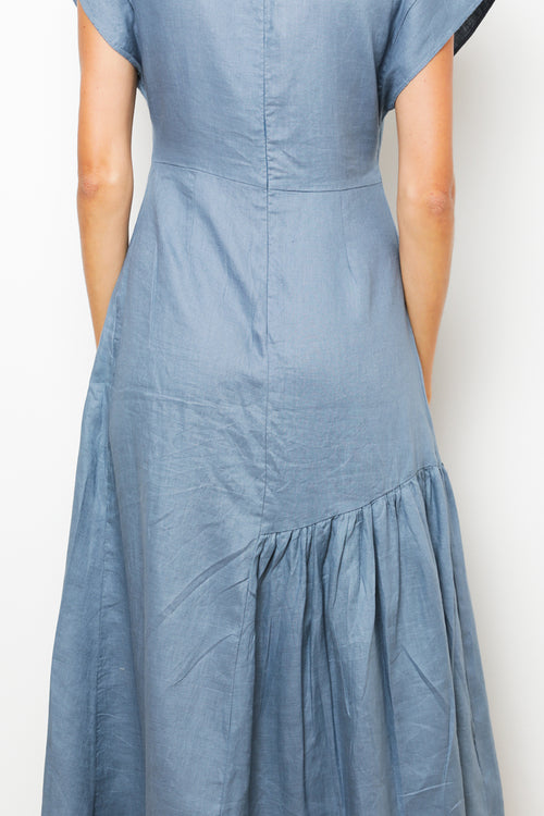 Dalia Dress in Petrol Linen