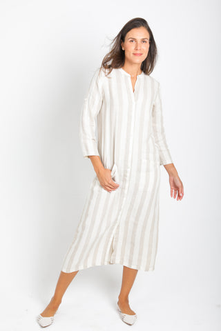 Tulum Long Caftan in Beige Stripes Linen