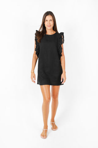 Olivia Halter Midi Dress in Black Linen