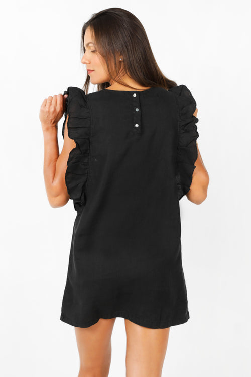 Sky Ruffle Dress in Black Linen