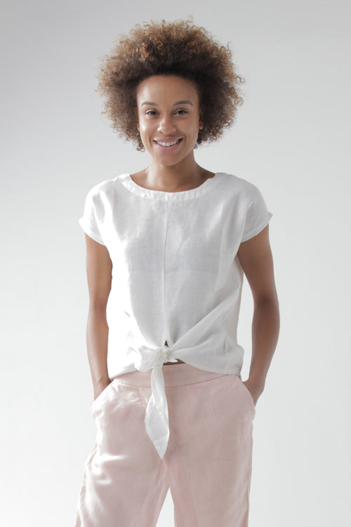 Ios Short-Sleeve Tie-Front Top in White Linen
