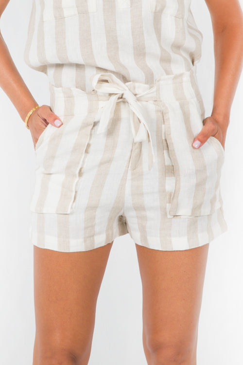 Jade Paperbag Shorts in Beige and White Stripes