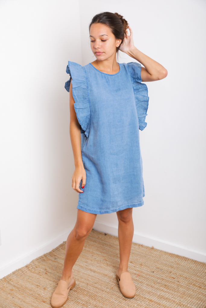 Sky Ruffle Dress in Denim Linen