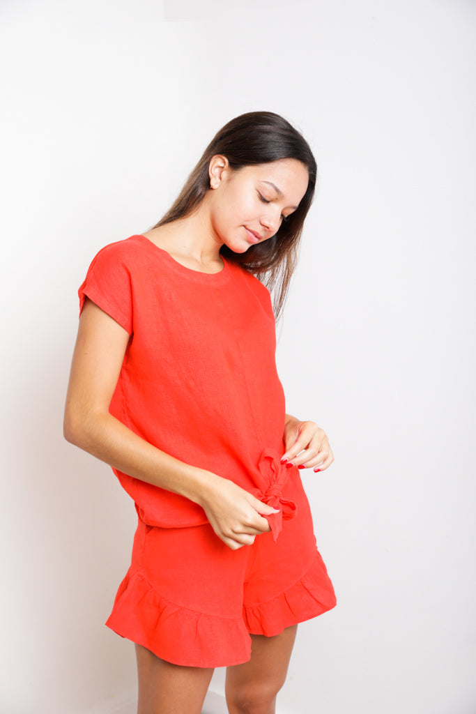 Ios Short-Sleeve Tie-Front Top in Bright Red Linen