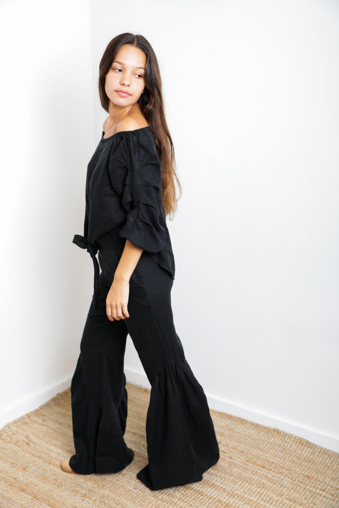 Black Off-Shoulder Top in 100% Linen Tie-Front