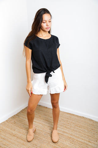 Olimpia Short in Black Linen