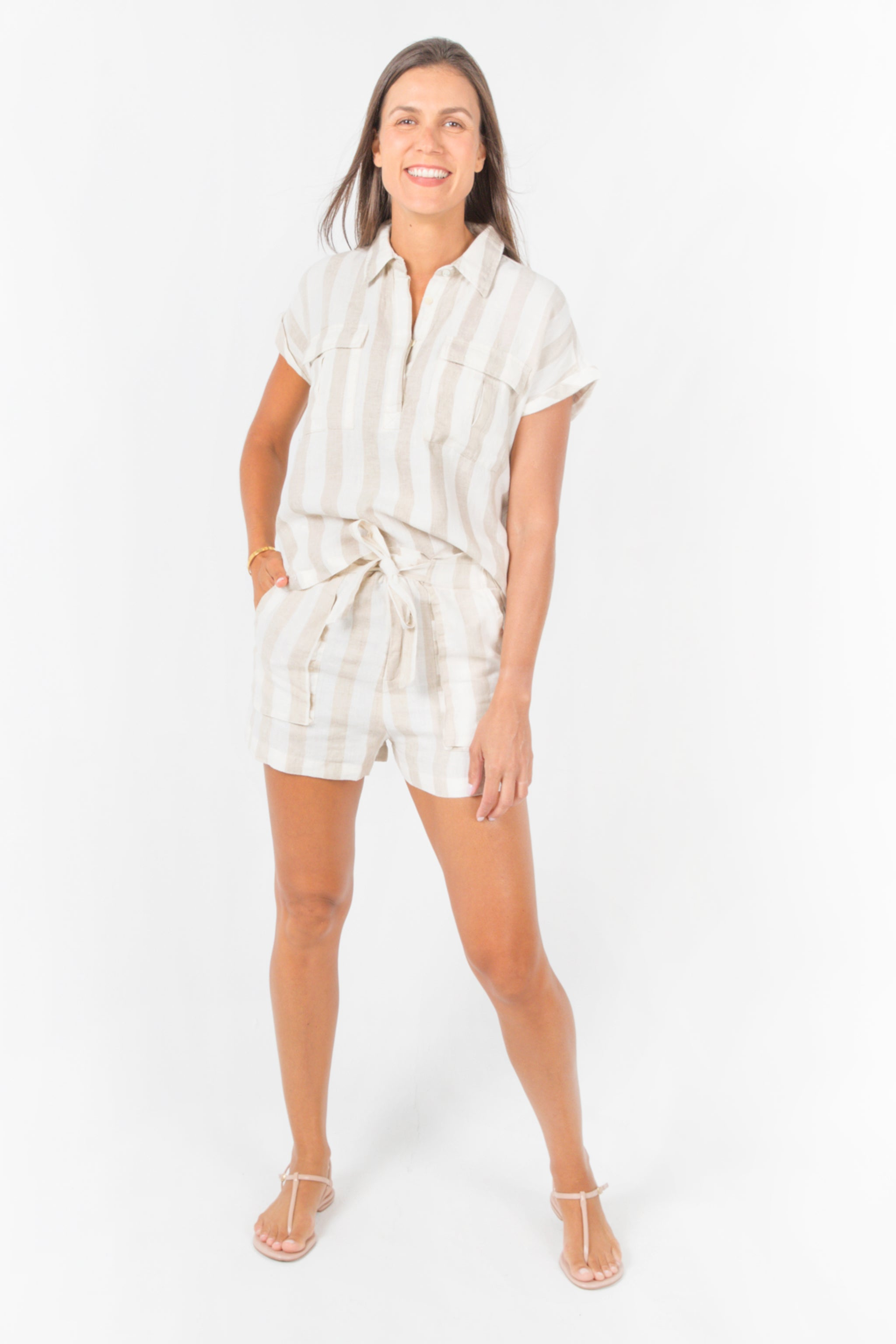 Jade Shorts - Beige Stripes
