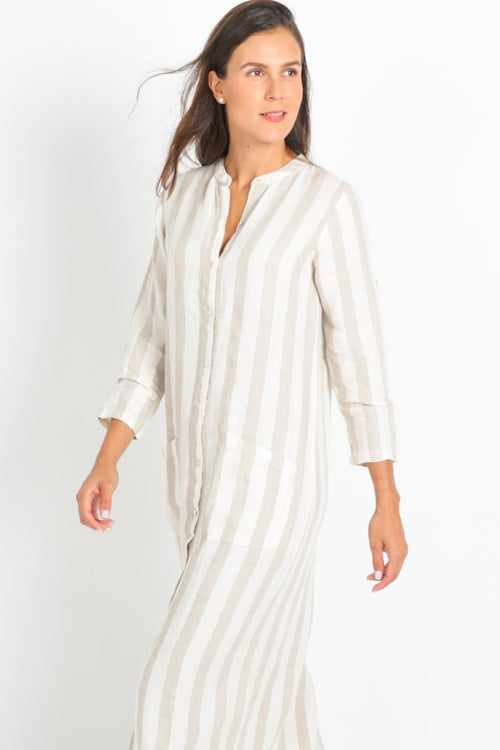 Long Caftan Maxi Shirt-Dress in 100% Linen with Mao Collar Beige/White Stripes