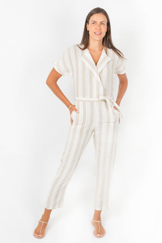 Kenia Safari Jumpsuit in Natural Linen