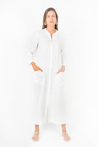 Uma Maxi Dress in White Linen