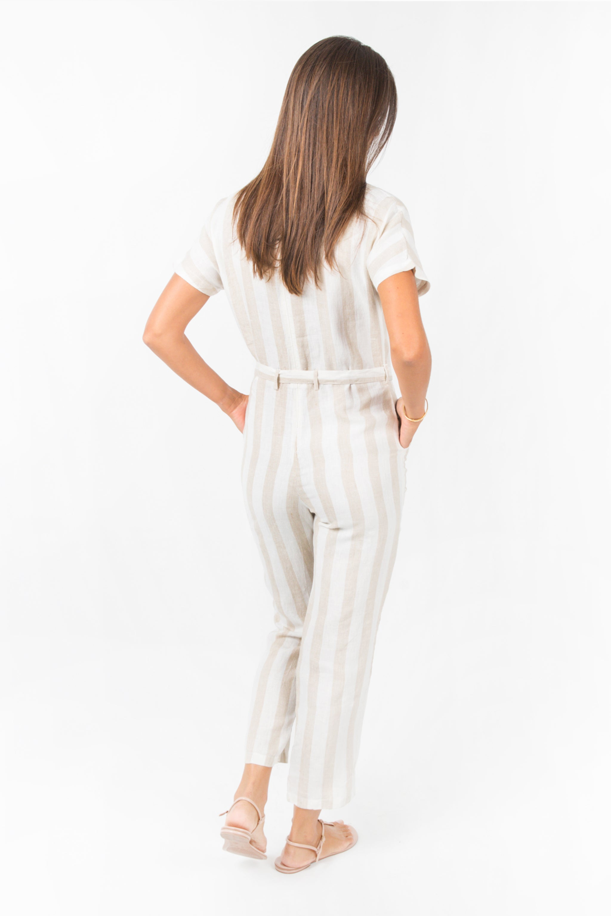 Oma Jumpsuit - Beige Stripes