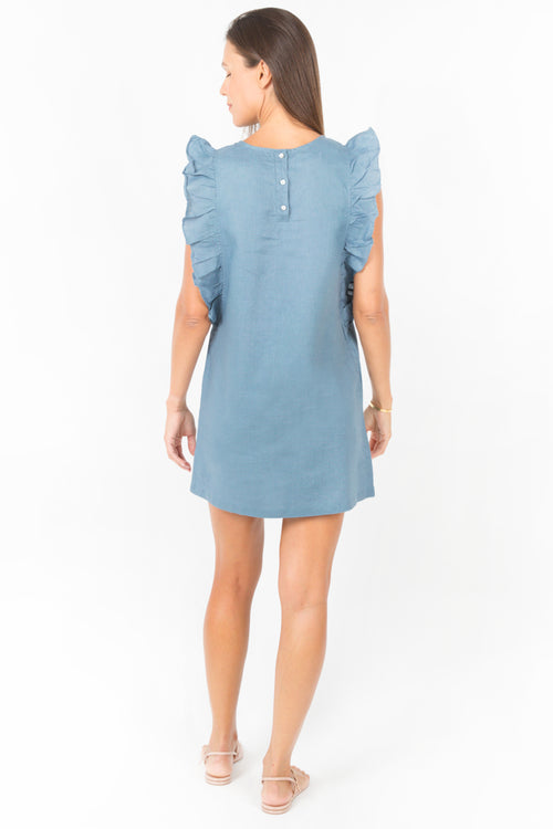 Sky Ruffle Dress in Petrol Linen
