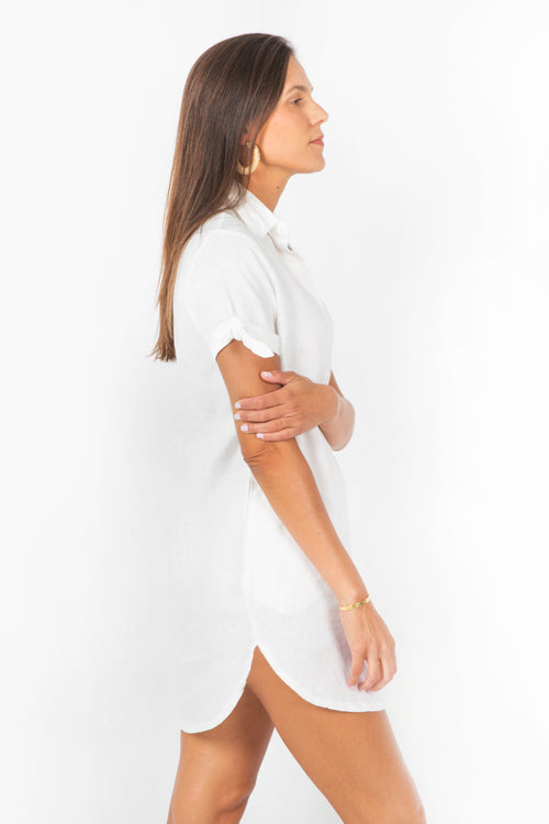 White Shirt-Dress in 100% Linen with Collar and Short Sleeves
