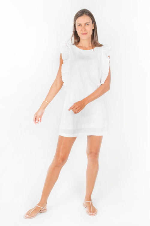 Sky Ruffle Dress in White Linen