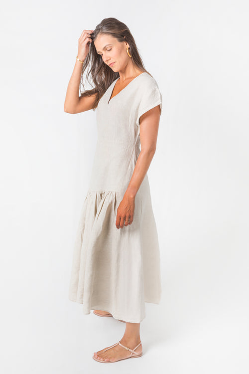 Dalia Dress in Natural Linen