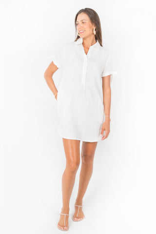 Olivia Halter High-Neck Midi Dress in White Linen