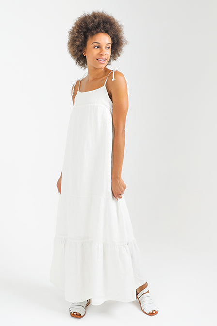Maria Tiered Long Dress in White Linen